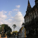 The moon emerges of Wat Yai Chai Mongkhun.