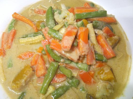 Green curry for veggies. Good with chicken too.