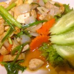 'Chicken' cashew nut, with tofu. YUM.