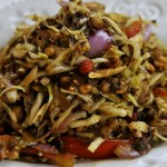 The famous laphet or Burmese tea-leaf salad