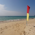 Sunny and safe to swim: Nai Thon beach in December.