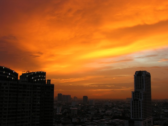 The view from my balcony; looking southwest into Thonburi, Phra Phradaeng and Samut Sakhon.