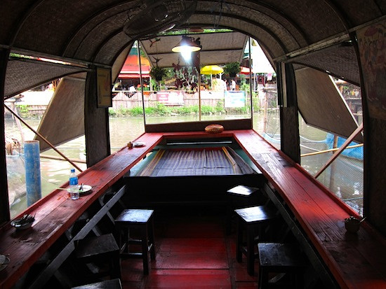 Inside a floating restaurant at Kwan Riam.