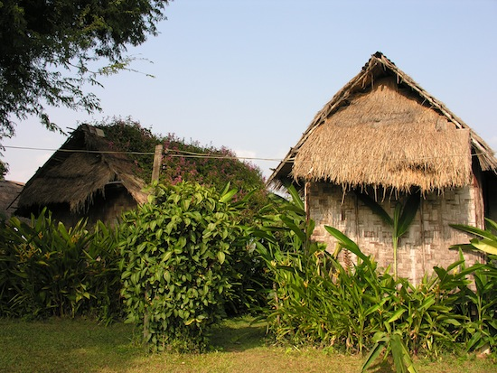 Venerably ageing huts at Buoy Guesthouse, Sangkhom.