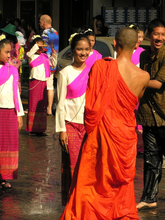 Young monks flirting with pretty girls? Why not, it's Songkran.