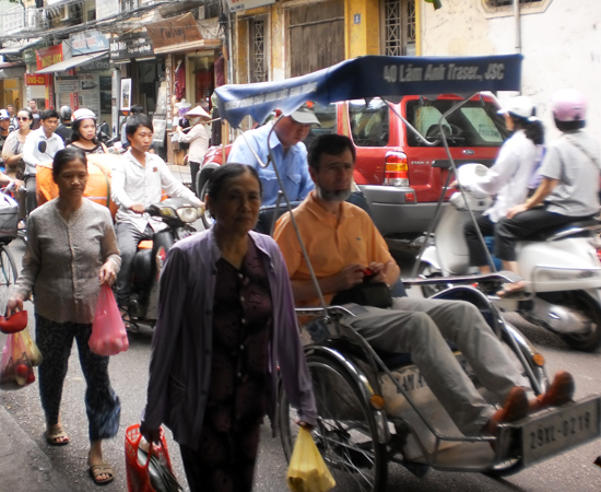 Go by foot or cyclo if you want to avoid the taxis