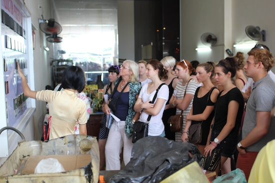 A tour group learning the trade.