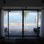 The view from the bed in the private pool villa.