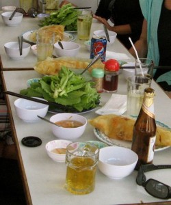 All you need in life, beer and banh xeo.