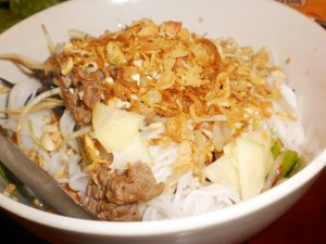 Rice noodles, beef, salad, peanuts and crispy onion? Must be bun bo nam bo.