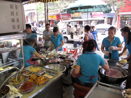A sticky rice production line.