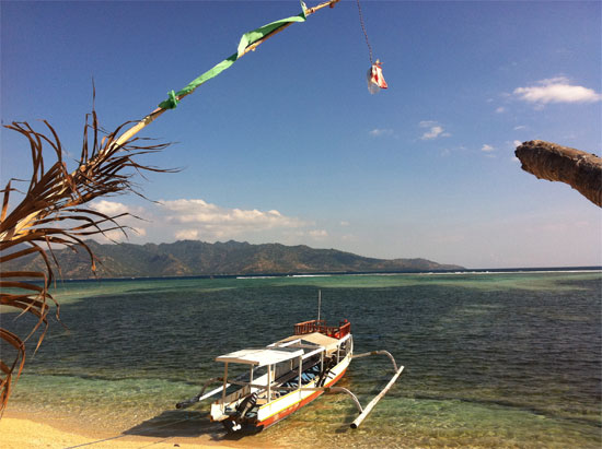 Glorious Gili Air with Lombok in the distance.